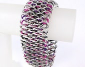 Dragonscale Chainmaille Bracelet, Pink Purple Black Silver Dragonscale Bracelet, Chainmail Bracelet, Chain Mail Jewelry