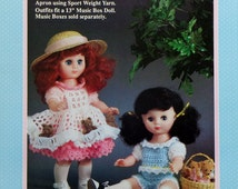 "Fibre Fiber Craft PICNIC PALS 13"" Music Box Doll - Crochet Doll Dress Clothes Clothing Pattern"