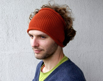 Knitted Mens Headband Guys knit hair wrap -orange rusty ginger Dread band