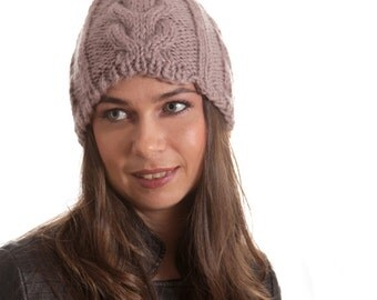 Knit Winter Wool Hat, Women Men Unisex Hat, Knitted Hat, taupe, beige neutral, Christmas gift, Knitted Gift, Warm Hat