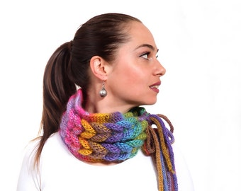Knitted Scarf, Braided Rainbow Scarf, Ombre Scarf, Hand Knit Cowl by Solandia, Handknit Neckwarmer, Knit collar, fashion winter, fall, gift