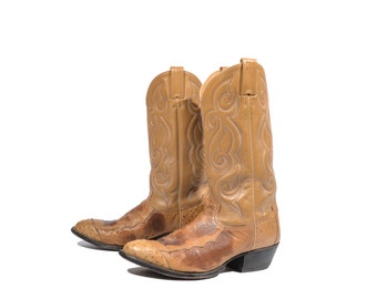 9.5 D   Vintage Tony Lama Cowboy Boots Ostrich Wingtip Western Boots Brown Leather Men