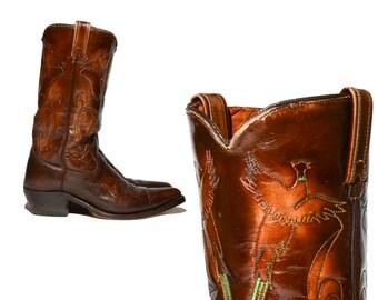 8 D | Men's Vintage TEXAS Cowboy Boots w/ Phoenix Bird Rainbow Stitching in Dark Brown Leather