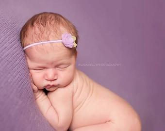 Lilac Purple Rose Bud - Newborn Baby to Adult - Wool Felt Flower Headband
