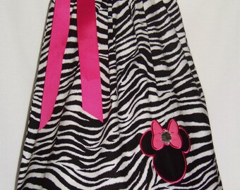 Minnie Mouse Pillowcase Dress / Zebra & Pink Polka Dot / Disney / Newborn / Infant / Girl / Baby / Toddler / Custom Boutique Clothing