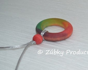 Tie Dye Teething Necklace for Nursing Baby and Mom by Zúbky - Silver Cord - Colorful Rainbow Fun