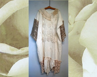 New Earth Linen Wearable Art Dress Alternative Wedding Custom