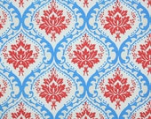 Vintage Wallpaper by the Yard 60s Retro Wallpaper - Red and Blue Damask