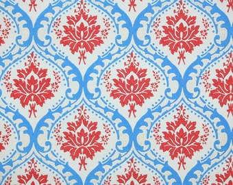 Retro Wallpaper by the Yard 60s Vintage Wallpaper - Red and Blue Damask