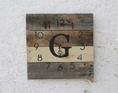 Custom MONOGRAM Pallet Wood Wall Clock with Natural Wood. No paint No stain. Choose Your Letter.  Rustic.  Wedding.  Housewarming.Gift.