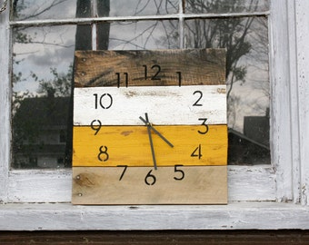 Rustic Modern Wall Clock. Reclaimed Wood clock. INDUSTRIAL hip.  Mustard Yellow.  Ivory or customize