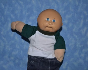 """Cabbage Patch Doll Clothes - T-Shirt for 16""""- 18"""" Boy Dolls - Emerald Green and White - Handmade"""