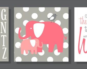 Elephant Heart, Children's Wall Art, Nursery Wall Art, Children's Canvas- Set of three stretched canvas Customizable