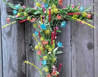Faith, Hope & Love Colorful Cross Wreath Decorative/Wedding/Easter/Baptism/Sympathy Cross