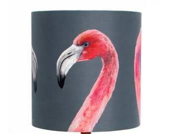 Flamingo Lampshade - handmade silk shade
