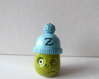 Polymer Clay Zombie - Clay Sculpture - Zombie Figurine - Little Zombie In A Blue Winter Hat - Halloween Decor - Christmas Decor - OOAK