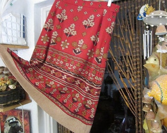 Oriental Red & Tan Bell Shaped Skirt, Adorned with Floral and Tribal Patterns, Vintage - Medium
