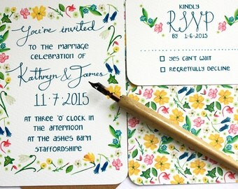 Wildflower Wedding invitation set