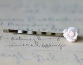 Light Pink Rose Flower Bobby Pin - white flower, pale pink, resin cabochon, resin flower, flower bobby pin, flower hair pin, 10mm