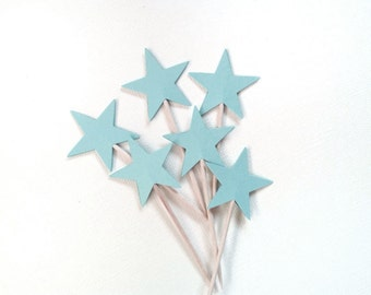 24 Blue Star Cupcake Toppers, Party Decor, Weddings, Showers, Birthdays