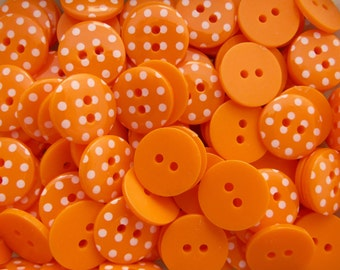Orange 10 x 15mm High Quality Polka Dot Buttons