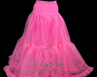 Hoopless A-Line Crinoline Petticoat in Royal Blue, Hot Pink, Red, Black, white or Ivory Custom order only