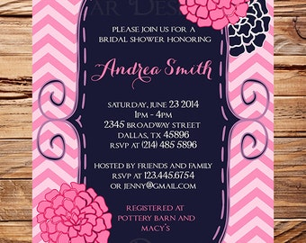 Bridal shower Invitation,Navy, Pink Flowers,Chevron Stripes, Purple, Flowers,Wedding, Cute Frame Bridal, Floral, Pink Flowers, 5131
