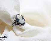 Black and White Cameo Ring - Adjustable Silver Tone Ring - Victorian Gothic Jewelry