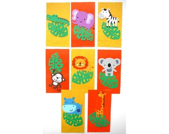 8 Cute Jungle Animal Themed Favor Loot Goody Bags Birthday Party Decoration