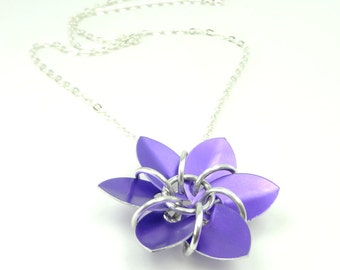 Royal Purple Flower Necklace Made From Anodized Aluminum