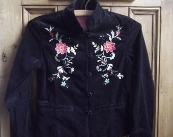 Girls vintage clothes Age 10 11 coat bohemian clothing summer coat black velvet embroidered floral clothes  folk  boho Dolly Topsy Etsy UK