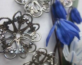 Vintage Silver Lacey  Metal Flowers