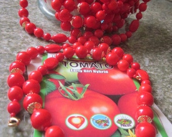 Tomato Red  Vintage West German Glass Bead Necklace