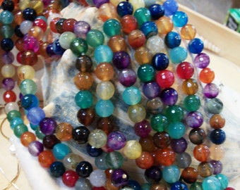 Mixed Color (Bright) Agate faceted round beads (8 mm)- full strand- 524