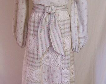 vintage 70s Boho hippie floral peasant blouse with lace maxi skirt dress set M/L
