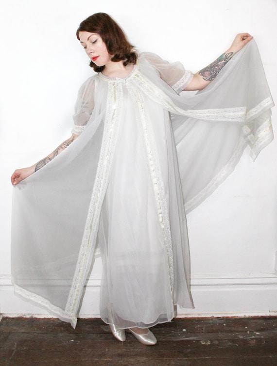 Vintage White Peignoir Set Full Length Gown And Robe Set