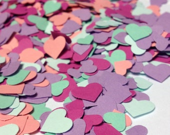 Adorable Heart Confetti in Purple Dark Pink Coral Mint Pale Mint Pastel Easter Confetti over 1000 hearts Paper Hearts Paper Confetti