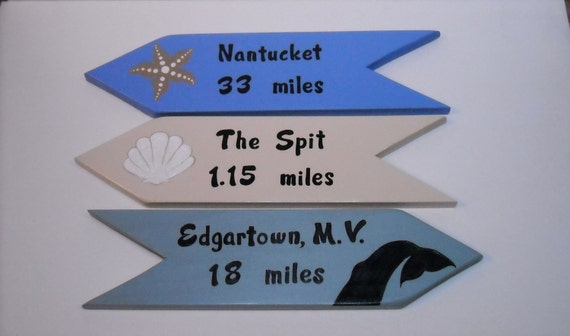 PERSONALIZED DIRECTIONAL SIGNS, Custom Handpainted Signs, Location Sign, Yard Art, 3 Signs set, Arrows, Favorite locations, Unique Gift Idea