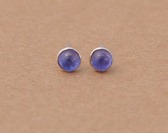 Tanzanite stud earrings handmade with Sterling Silver. 4mm Cabochon Lavender Blue Gemstone and silver studs. birthstone, december, birthday