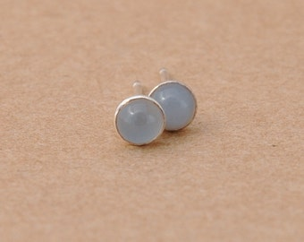 Moonstone Earrings Handmade with Sterling Silver Studs. 4mm Grey Cabochon Gemstones and 925 silver perfect for gifts, silver jewelry