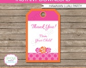 Hawaiian Luau Favor Tag or Thank You Tag - INSTANT DOWNLOAD and EDITABLE template - type your own text in Adobe Reader
