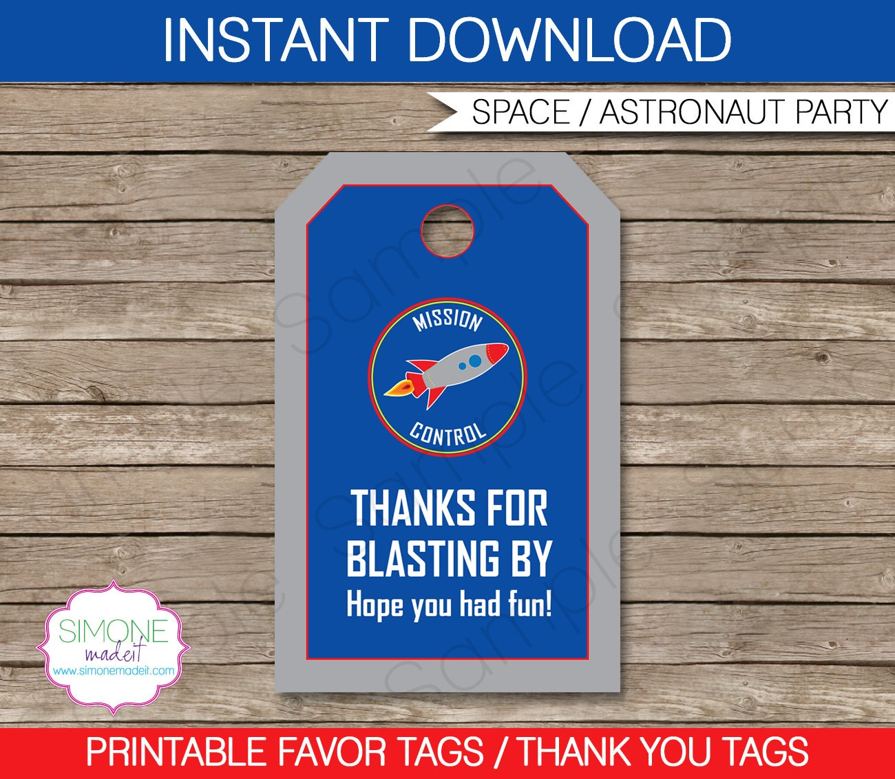 astronaut favor tags thank you tags space birthday party