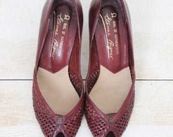 Vintage Cherry-Wood Etienne Aigner Peep Toe