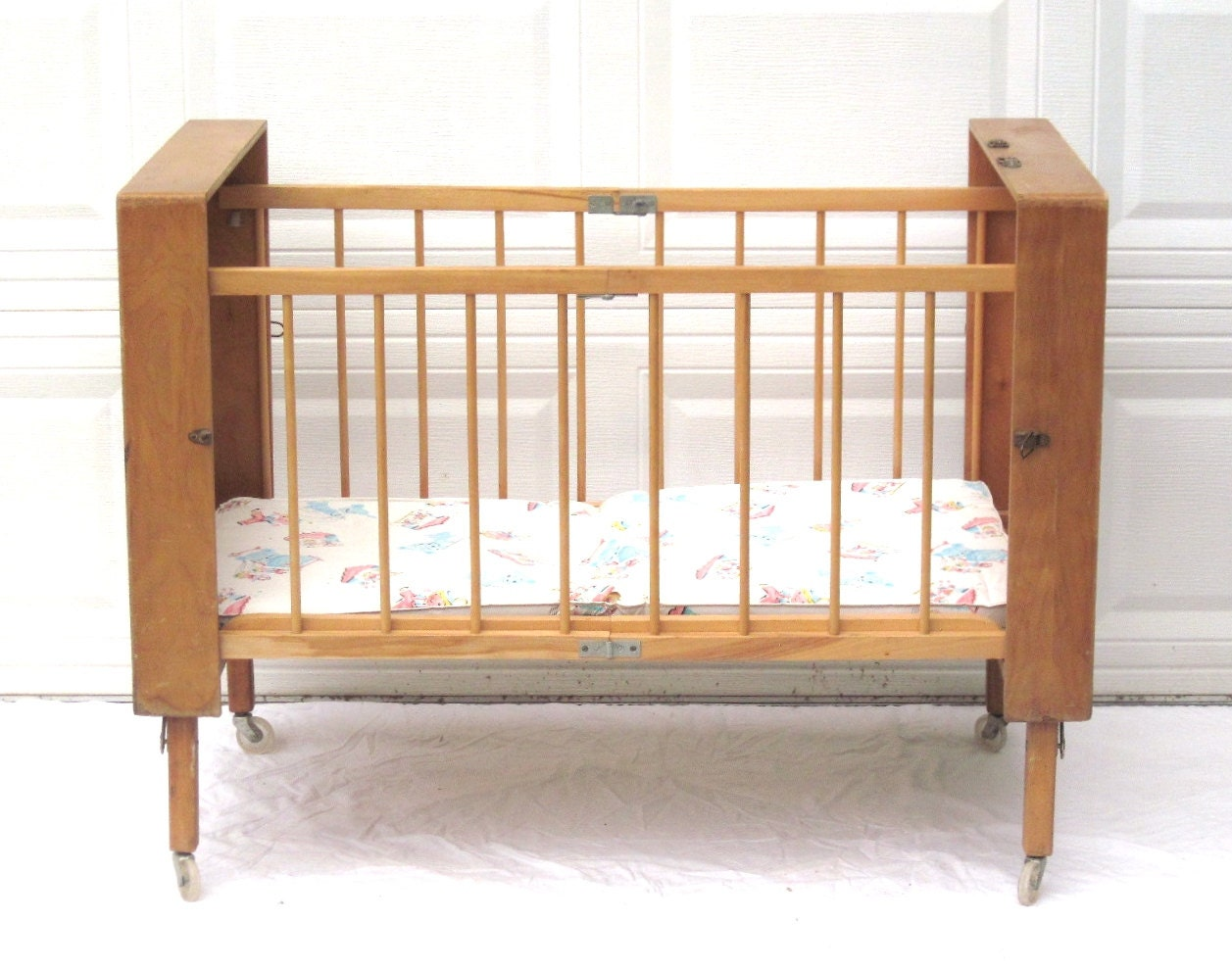 portable baby crib vintage bed folding collapsible wood