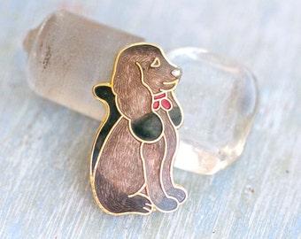 Enamel Dog Vintage Lapel Pin - Brown Pooch Brooch
