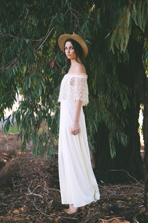 Bohemian Wedding Dress , Off the Shoulder, Cream,Lace, 70s Dress ...