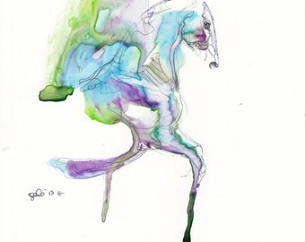 Equine Nude 54 - Ballpoint Pen and watercolor Horse Painting