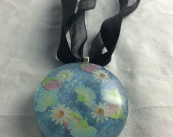 Spring Flowers Pendant on Black Ribbons