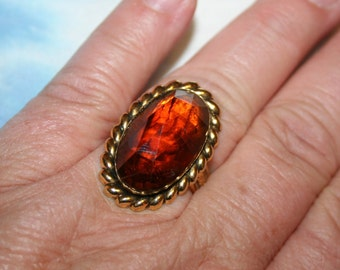 CLEARANCE Vintage Rootbeer Glass Ring in Antique Gold Tone Brass Adjustable!