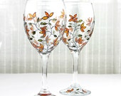 Wine Glasses, Yellow Tulips Design, Wedding Glasses, Toasting Glasses, Hand Painted Glasses, Painted Wine Glasses, Set of 2